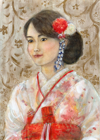 Portrait of my sister in her wedding kimono