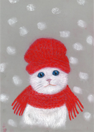 White cat with red hat and scarf